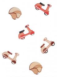 6 Confettis de table en bois scooter vintage