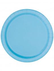 16 Assiettes bleu pastel en carton 22 cm