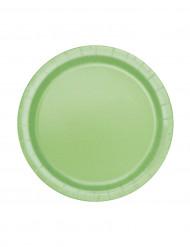 20 Petites assiettes vert pomme en carton 17 cm