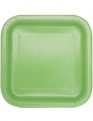 14 Assiettes carrées vert pomme en carton 22 cm