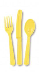 18 Couverts jaune doux en plastique
