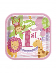 10 Petites assiettes carrées Jungle 1 an Fille 18 cm