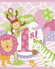 8 Sacs cadeaux Jungle 1 an Fille