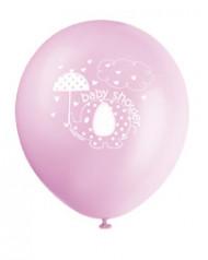 8 Ballons Imprimés Elephant Rose