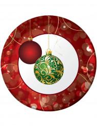 8 Assiettes Boules Décorées 23 cm Noël