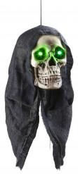 Décoration crâne lumineux vert 45 cm Halloween