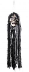 Décoration crâne parlant et lumineux Halloween 70 cm