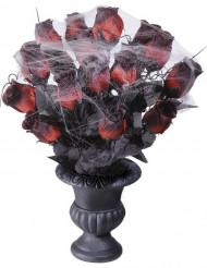 Bouquet roses rouges toile d'araignée 35 cm Halloween
