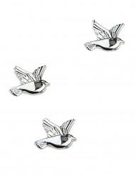 10 Décorations colombes Argent 2 cm
