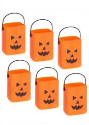 6 Mini seaux à bonbons citrouille Halloween
