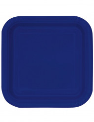 14 Assiettes carrées Bleu marine en carton 23 cm