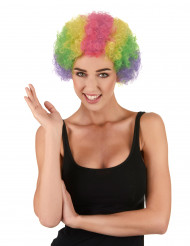 Perruque afro multicolore clown adulte