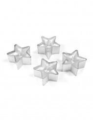 4 Bougies chauffe-plat étoiles à paillettes argentées 4 cm