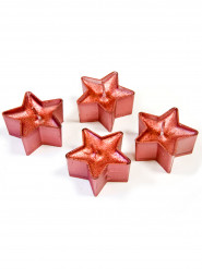 4 Bougies chauffe-plat étoiles à paillettes rouges 4 cm