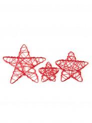 6 Petites étoiles de décoration en métal rouge