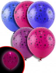 5 Ballons étoiles pastels LED 21 cm
