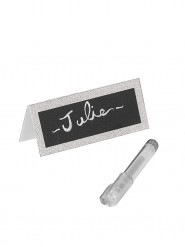 Marque-places paillettés argent avec stylo