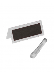 Marque-places paillettés blancs avec stylo
