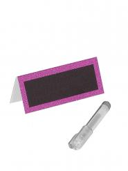 Marque-places paillettés fuchsia avec stylo