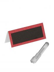 Marque-places paillettés rouges avec stylo