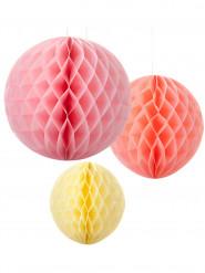 3 Suspensions boules papier pastel