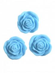 24 Petites roses bleues en sucre