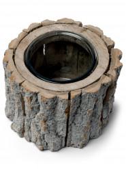 Bougeoir rondin de bois 12 x 14 cm