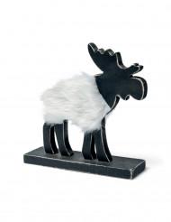 Elan noir de Noël en fourrure blanche