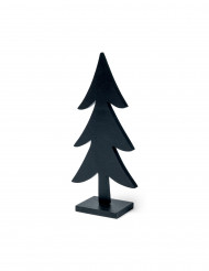 Décoration Sapin en bois noir 17 cm