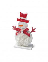 Bonhomme de neige en bois avec fourrure 15 cm