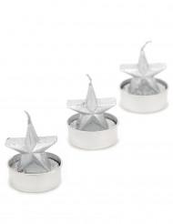 3 Bougies étoile argent Noël