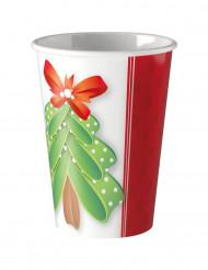 8 Gobelets en carton Joli Sapin Noël 200 ml