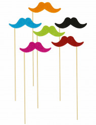 6 Pics moustaches fluos Photobooth