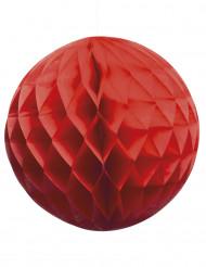 Boule papier alvéolée rouge 25 cm