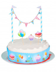 Décoration pour gâteau d'anniversaire bleue