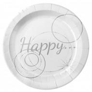 10 Assiettes en carton Happy blanches 22.5 cm