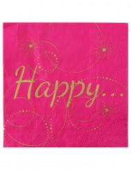 20 Serviettes en papier Happy fuschia