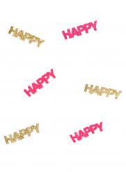 Confettis Happy fuschia et dorés