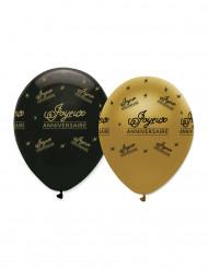 6 Ballons Joyeux anniversaire noir et or