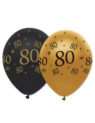 6 Ballons noir et or 80 ans