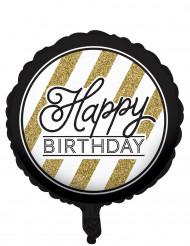 Ballon aluminium Happy Birthday noir et or 46 cm