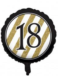 Ballon aluminium 18 ans Noir et Or 46 cm