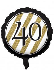 Ballon aluminium 40 ans Noir et Or 46 cm