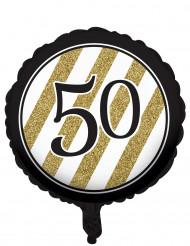 Ballon aluminium Noir et or 50 ans 46cm