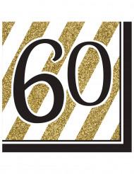 16 Serviettes 60 ans Noir et Or 33 x 33 cm