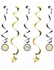5 Suspensions spirales Anniversaire Noir et or