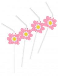 6 Pailles fleurs