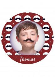 Disque en sucre personnalisable Moustache 20 cm