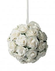 Boule de roses blanches en papier 10 cm