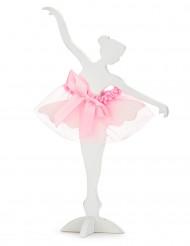 Danseuse ballerine en bois blanc et tulle rose